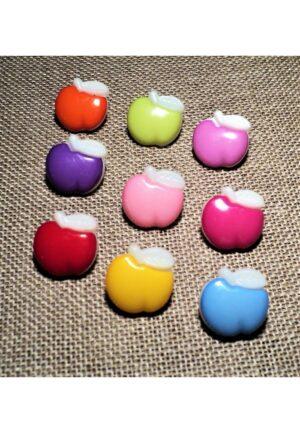 Bouton enfant pomme 15mm, rouge, jaune, rose, fuchsia, orange, violet, vert anis, rose bonbon, bleu clair