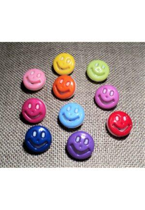 Bouton enfant smiley 14mm, rouge, orange, vert anis, jaune, rose pâle, bleu ciel, rose bonbon, violet, fuchsia, bleu clair