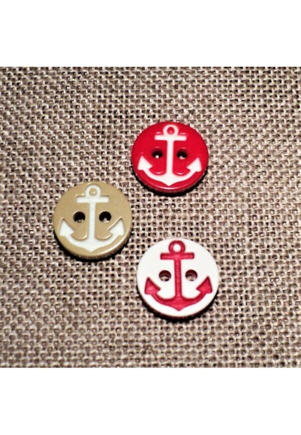 Bouton ancre 13mm rouge / blanc et beige/blanc