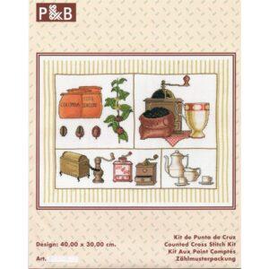Moulin à café 40x30cm, Kit aux points comptés, café, tasses au point croix