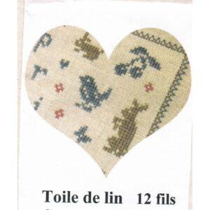 Toile de lin, ecru, 12 fils, 100 cm x 140 cm
