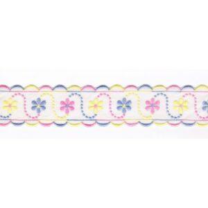Broderie Anglaise blanc 40mm entre-deux avec fleurs rose, bleu et jaune