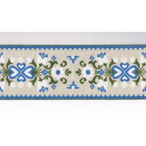 Ruban / Galon folklorique 95mm 100% coton, écru, vert, bleu antique
