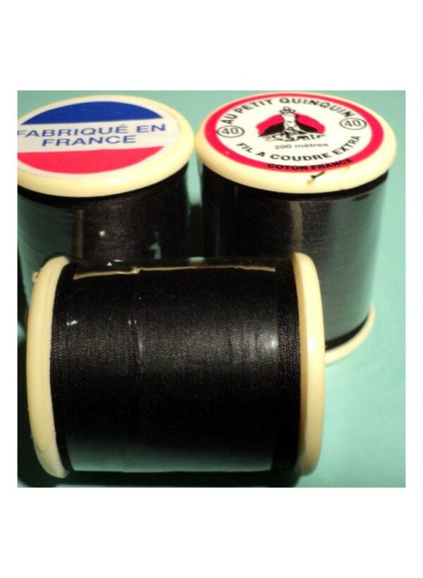 """Fil coton """"au petit quinquin"""" 200mtr noir"""