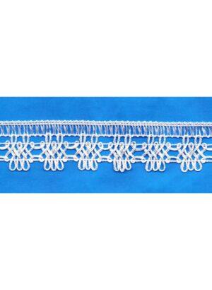 Dentelle crochet BLANC 30mm, galon frange
