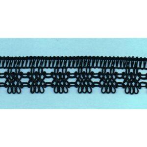 Dentelle crochet NOIR 30mm, galon frange