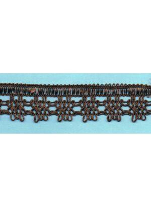 Dentelle crochet MARRON 30mm, galon frange