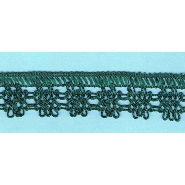 Dentelle crochet VERT FONCE 30mm, galon frange