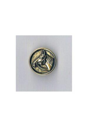Bouton métal tête cheval 14mm doré