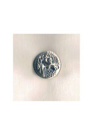 Bouton métal tête cheval 18mm argenté