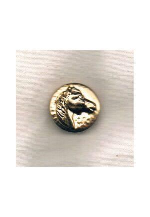 Bouton métal tête cheval 20mm doré