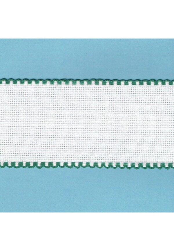 Bande à broder Aïda, 7,5cm, 1 mètre, bordure vert
