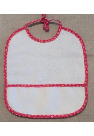 Bavoir à broder, Rouge ancre, coton éponge