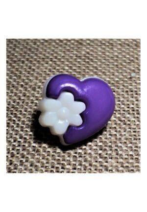 Bouton coeur fantaisie violet, 14mm, bouton enfant,