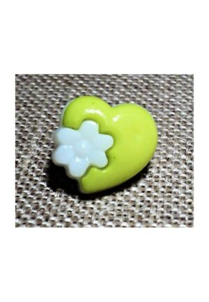 Bouton coeur fantaisie vert anis, 14mm, bouton enfant