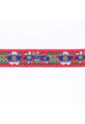 Ruban / Galon folklorique 30mm tissé 100 % Coton, rouge, bleu, vert, blanc