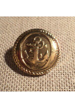 Bouton Caban Marin doré avec ancre 21mm