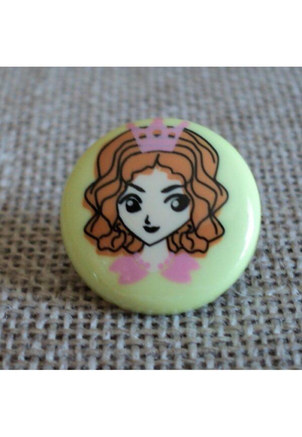 Bouton Princesse vert anis 14mm, Petit bouton enfant