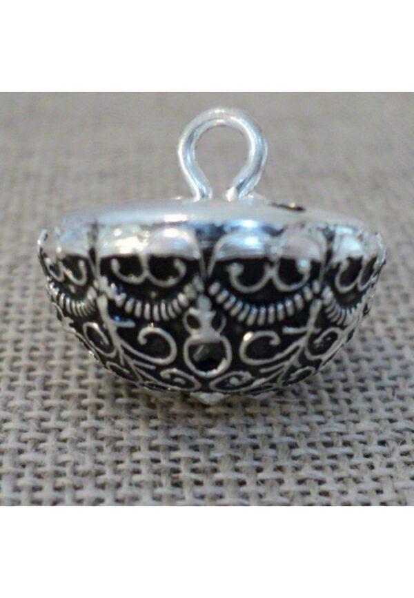 Bouton boule baroque argenté 16mm métal filigrain