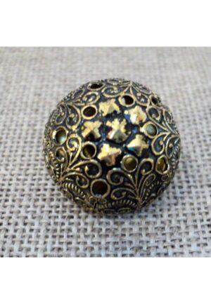 Bouton boule baroque doré 16mm métal filigrane