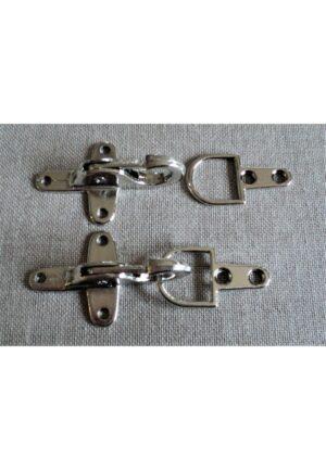Fermoir argenté brandebourg métal, 30 x 80mm