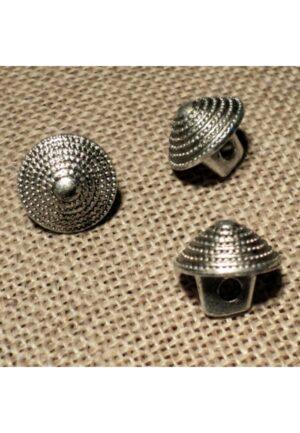 Bouton argenté 11mm, demi boule pointu pour robe, gilet et chemise