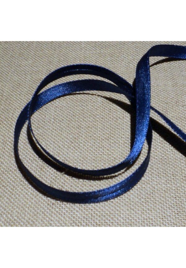 Ruban Satin bleu marine 7mm Double face satin vendu au mètre