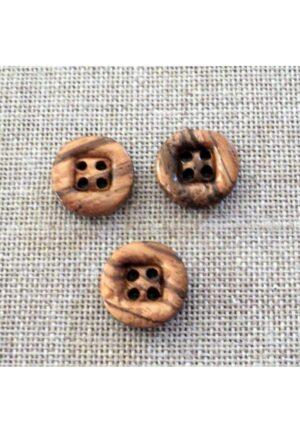 Bouton en bois naturel 15mm 4-trous, petit bouton bois