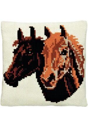 """Coussin point de croix 40x40cm, kit complet """"les chevaux"""""""