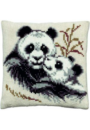 """Coussin point de croix 40x40cm, kit complet soudan """"Les Pandas"""""""