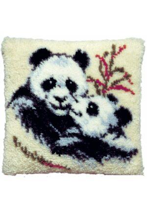 """Coussin en point noué 40x40cm, kit complet soudan """"les pandas"""""""