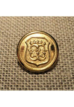 Bouton blason doré 15mm métal avec couronne