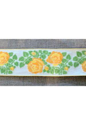 Ruban / Galon folklorique 50mm 100% coton, blanc, vert, jaune fleurs