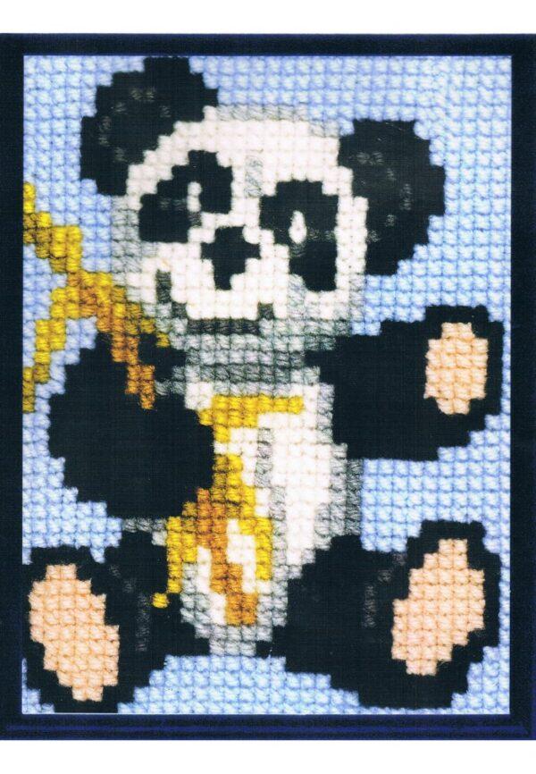 Kit Canevas ENFANT 18x24cm 'le panda' gros trou débutant, soudan, point de croix