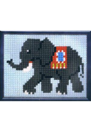 Kit Canevas ENFANT 18x24cm 'L'éléphant' gros trou débutant, soudan, point de croix