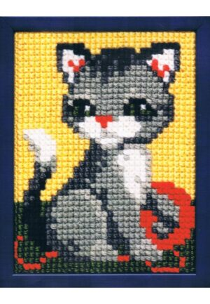 Kit Canevas ENFANT 18x24cm 'Le chat' gros trou débutant, soudan, point de croix