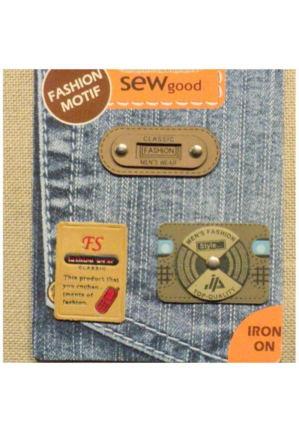 Ecussons Jeans en semili Cuir Thermocollants, 3 pièces