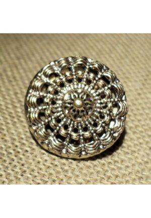 Bouton baroque argenté 18mm métal filigrane