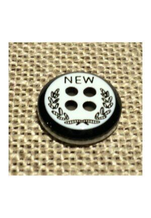 Bouton chemise 11mm 4-trous Petit bouton button down, blanc avec couronne de laurier noir