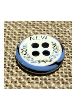 Bouton chemise 11mm 4-trous Petit bouton button down, blanc avec couronne de laurier noir et bleu denim