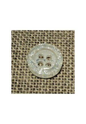 Bouton chemise 11mm blanc bling 4-trous Petit bouton button down