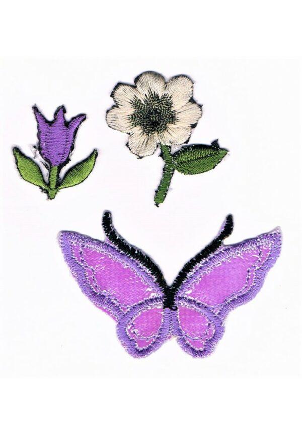 Ecusson Thermocollant mauve le papillon et les fleurs 3 pièces