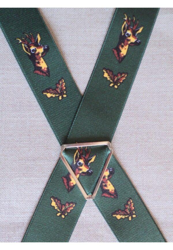 Bretelles hommes fantaisie Grande Taille, 120 cm, à pinces clips XL- XXL, vert chasse le cerf /chevreuil