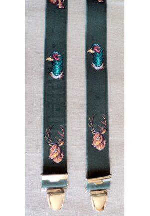 Bretelles hommes fantaisie Grande Taille, 120 cm, à pinces clips XL- XXL, vert chasse le cerf /sanglier / faisan