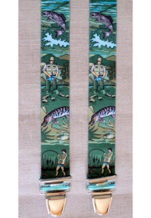 Bretelles hommes fantaisie Grande Taille, 120 cm, à pinces clips XL- XXL, vert chasse pêche, le pêcheur camouflage