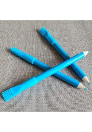 Crayon craie à marquer et brosse, couleur bleu