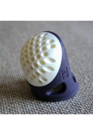 Dé à coudre ergonomique, Prym, caoutchouc souple, taille L, violet foncé, soft comfort, 431147