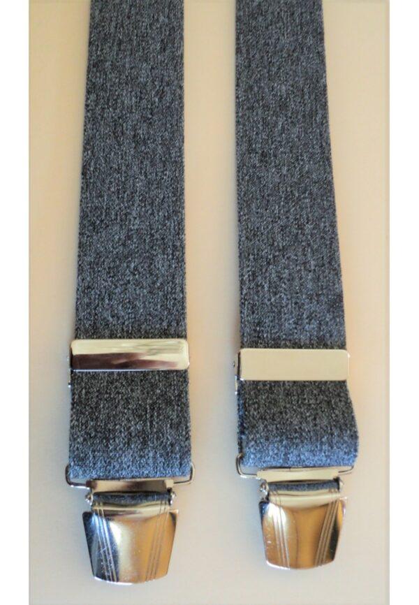 Bretelles hommes gris Grande Taille, 150 cm, à pinces clips XL- XXL, XXXL, XXXXL, 3XL, 4XL, 5XL