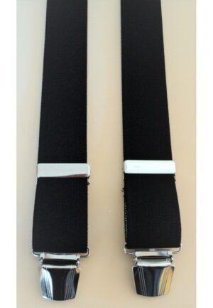 Bretelles hommes noir Grande Taille, 150 cm, à pinces clips XL- XXL, XXXL, XXXXL, 3XL, 4XL, 5XL