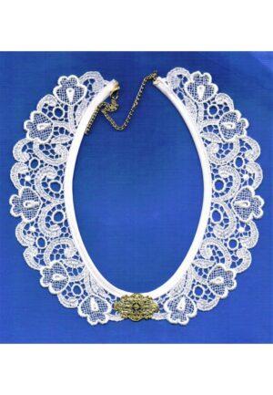 Col en dentelle guipure, blanc, 40 cm, adjustable, collier dentelle